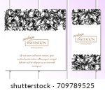 invitation with floral... | Shutterstock . vector #709789525