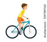 cycling man riding a bicycle | Shutterstock .eps vector #709789765