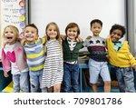 group of diverse kindergarten... | Shutterstock . vector #709801786