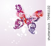 vector butterfly on pink... | Shutterstock .eps vector #70981132