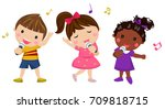 children singing | Shutterstock .eps vector #709818715