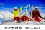 happy family enjoying winter... | Shutterstock . vector #709821616