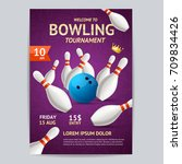 bowling tournament poster card...   Shutterstock .eps vector #709834426