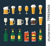 beer flat icons set. includes... | Shutterstock .eps vector #709834606