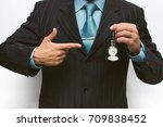 business man showing by finger... | Shutterstock . vector #709838452