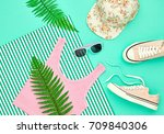 hipster girl accessories set.... | Shutterstock . vector #709840306