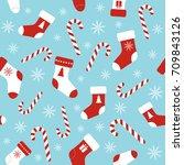 christmas vector seamless blue... | Shutterstock .eps vector #709843126