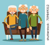 three elderly men sitting on... | Shutterstock .eps vector #709849312