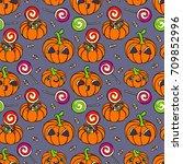 halloween pumpkins. set.... | Shutterstock .eps vector #709852996