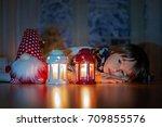 beautiful little boy  lying... | Shutterstock . vector #709855576