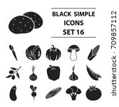 vegetables set icons in black... | Shutterstock .eps vector #709857112