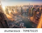 dubai marina with colorful...   Shutterstock . vector #709870225