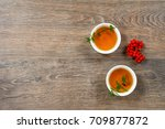two small bowl with mint fruit... | Shutterstock . vector #709877872