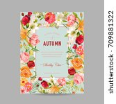 Autumn Photo Frame With Orchid...