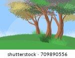 beautiful trees forest scene... | Shutterstock .eps vector #709890556