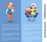 grandfather and grandson set of ... | Shutterstock .eps vector #709896445