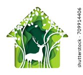 green living house with deer... | Shutterstock .eps vector #709914406