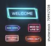 illustration of big set of neon ... | Shutterstock . vector #709917238