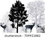 illustration with deers in... | Shutterstock .eps vector #709921882