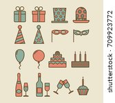 colorful vintage party icons.... | Shutterstock .eps vector #709923772