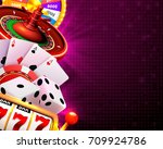 casino dice banner signboard on ... | Shutterstock .eps vector #709924786