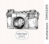 vintage camera  hand drawn... | Shutterstock .eps vector #709925395