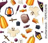 halloween seamless pattern.... | Shutterstock .eps vector #709925698