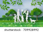 happy family walking on the... | Shutterstock .eps vector #709928992