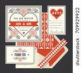 vintage retro vector wedding... | Shutterstock .eps vector #709929922