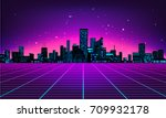 retro futuristic abstract... | Shutterstock .eps vector #709932178