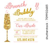 brunch and bubbly bridal shower | Shutterstock . vector #709932685