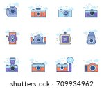 camera icons in flat color... | Shutterstock .eps vector #709934962