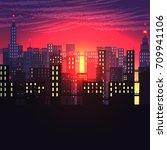 urban city nightscape   vector... | Shutterstock .eps vector #709941106