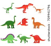 cute cartoon dinosaur animals... | Shutterstock .eps vector #709941796