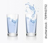 transparent glass of water... | Shutterstock .eps vector #709943752