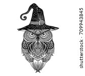 Halloween Owl And Witch Hat ...