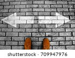 person's feet in suede shoes is ...   Shutterstock . vector #709947976