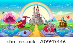 landscape of dreams with dragon ... | Shutterstock .eps vector #709949446
