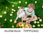 Two Children Picking Apples On...