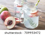 glass jars of water with fresh... | Shutterstock . vector #709953472