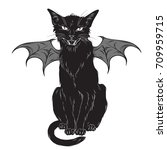 creepy black cat with monster... | Shutterstock .eps vector #709959715