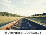 railway close up in the summer... | Shutterstock . vector #709963675