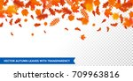 autumn leaves background on... | Shutterstock .eps vector #709963816