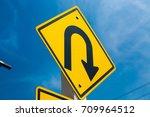 yellow warning sign u turn... | Shutterstock . vector #709964512