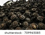 used and rusty car disc break... | Shutterstock . vector #709965085