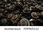 used and rusty car disc break... | Shutterstock . vector #709965112