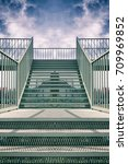 Stock photo modern prison a metal staircase on the street 709969852
