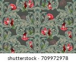 luxury baroque ornament with... | Shutterstock .eps vector #709972978