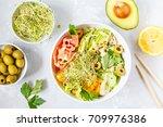 hawaiian fish poke with rice ...   Shutterstock . vector #709976386