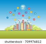 smart city with advanced smart... | Shutterstock . vector #709976812